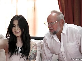 Old guy gets lucky and sticks his dick in tight pussy of Sheril Blossom