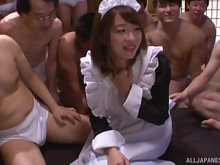 Hardcore gangbang ends with messy bukkake for a Japanese slut