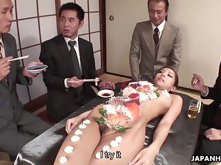 Horny businessmen are abrading cabinet wanting a hot babe's naked body