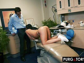 Smoking hot brunette with big tits is having hardcore sex with will not hear of handsome dentist, in his office