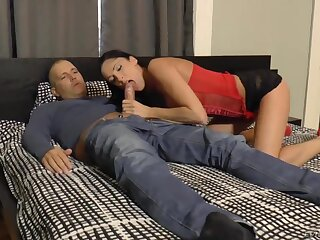 Dude is woken up with a nice blowjob hard by playful brunette who deserves anal
