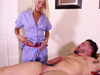 Dick tugging by dirty blonde Misha Mynx makes her slave cum