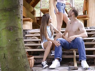 Outdoors FFM triplet with pornstars Nelly Kent and Talia Mint