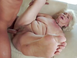 Granny does porn with the much younger dear boy in the fresh air