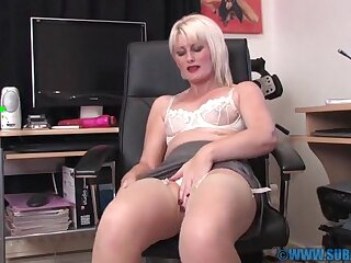 Closeup mistiness of small pair Sexy Saucy Sally pleasuring her cunt