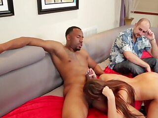Naughty skirt Deanna Adventure gets fucked close by this cuckold scene