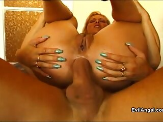 Blonde chick moans loudly while getting her tight holes drilled